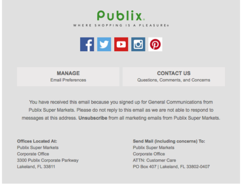 Publix email footer example